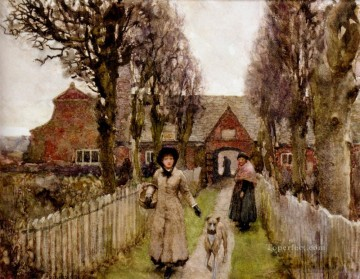 King Painting - Gaywood Almshouses Kings Lynn 1881 modern peasants impressionist Sir George Clausen