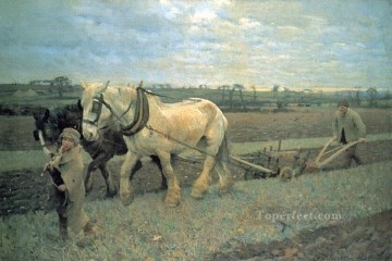 Claus Oil Painting - Ploughing modern peasants impressionist Sir George Clausen