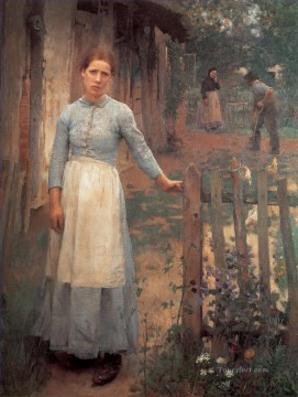 Claus Oil Painting - The Girl at the Gate modern peasants impressionist Sir George Clausen
