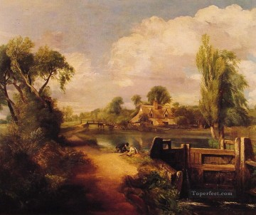 Romantic Painting - Landscape Boys Fishing Romantic John Constable