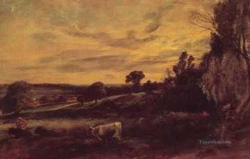 Romantic Painting - Landscape Evening Romantic John Constable