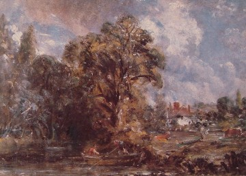 Scene on a River Romantic John Constable Oil Paintings