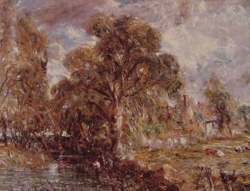 Scene on a river2 Romantic John Constable Oil Paintings