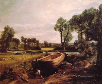 Boat Building Romantic John Constable Oil Paintings