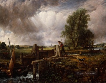 Boat Passing a Lock Romantic John Constable Oil Paintings