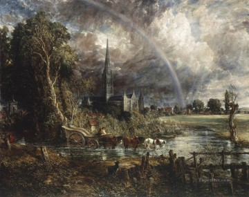 Salisbury Cathedral from the Meadows Romantic John Constable Oil Paintings