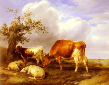 cattle bull cow Painting - In The Canterbury Meadows farm animals cattle Thomas Sidney Cooper