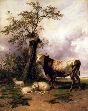 cattle bull cow Painting - The Lord Of The Pastures farm animals Thomas cattle Sidney Cooper
