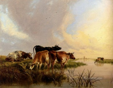cat cats Painting - Cattle Watering farm animals cattle Thomas Sidney Cooper