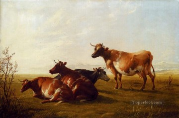 cattle Works - Cows In A Meadow farm animals cattle Thomas Sidney Cooper