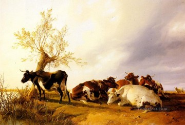 vagabonds resting in a cave Painting - Dairy Cows Resting farm animals cattle Thomas Sidney Cooper