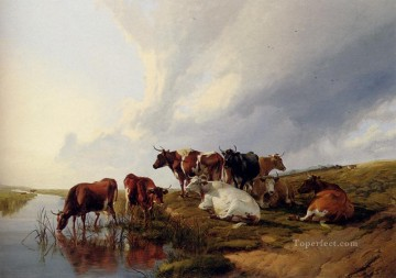 farm Works - Evening In The Meadows farm animals cattle Thomas Sidney Cooper