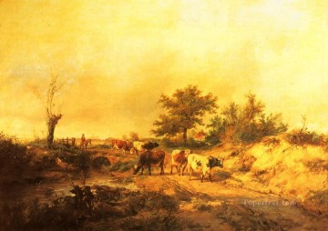 cattle bull cow Painting - Near Canterbury farm animals cattle Thomas Sidney Cooper