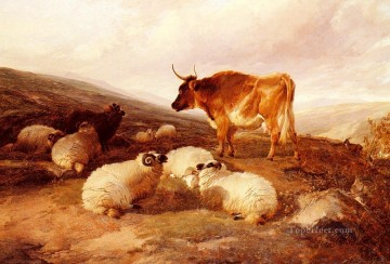 farm Works - Rams And A Bull In A Highland Landscape farm animals cattle Thomas Sidney Cooper