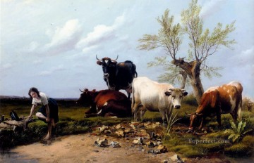 Bath Painting - The Rustic Foot Bath farm animals cattle Thomas Sidney Cooper