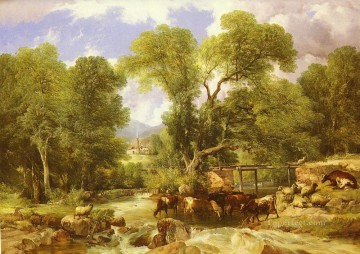 cattle bull cow Painting - A Wooded Ford farm animals cattle Thomas Sidney Cooper