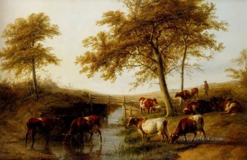 cattle bull cow Painting - Cattle Resting By A Brook farm animals Thomas Sidney Cooper