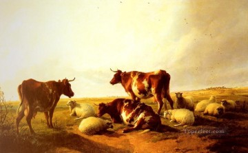 cat cats Painting - Cattle and Sheep In A Landscape farm animals cattle Thomas Sidney Cooper