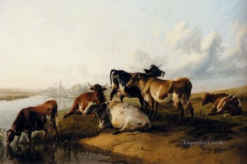 cattle bull cow Painting - The Church Meadows farm animals cattle Thomas Sidney Cooper