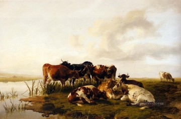 cattle bull cow Painting - The Lowland Herd farm animals cattle Thomas Sidney Cooper