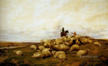 animal Works - A shepherd With His Flock sheep farm animals Thomas Sidney Cooper