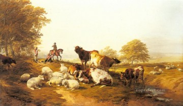 Rest Painting - Cattle And Sheep Resting In An Extensive Landscape farm animals Thomas Sidney Cooper