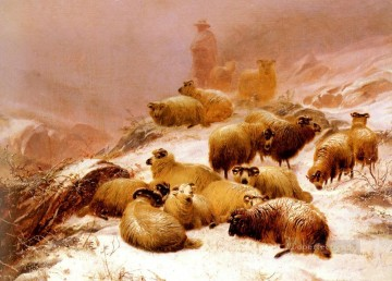 The Chill Of Winter sheep farm animals Thomas Sidney Cooper Oil Paintings
