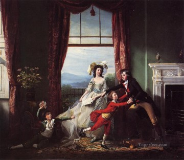 Family Painting - The Stillwell Family colonial New England Portraiture John Singleton Copley