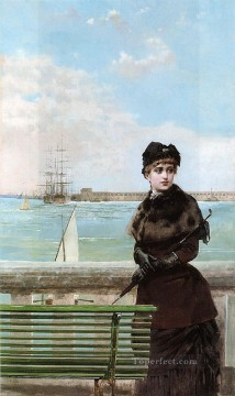 Woman Painting - An elegant Woman at St Malo woman Vittorio Matteo Corcos