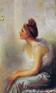 Woman Painting - Beauty and the Butterfly woman Vittorio Matteo Corcos