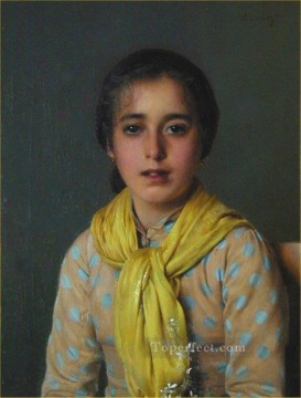 girl Deco Art - Girl with Yellow Shawl woman Vittorio Matteo Corcos