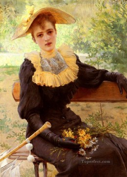 garden Oil Painting - In The Garden woman Vittorio Matteo Corcos