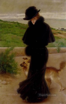beach Art - Matteo An Elegant Lady With Her Faithful Companion By The Beach woman Vittorio Matteo Corcos