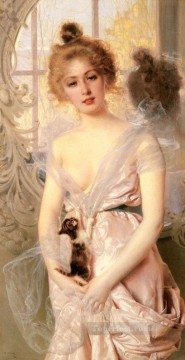 Woman Painting - Matteo The New Kitten woman Vittorio Matteo Corcos