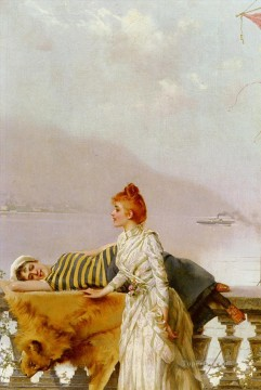 Woman Painting - Matteo On The Balcony woman Vittorio Matteo Corcos