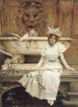 Woman Painting - Waiting by the Fountain woman Vittorio Matteo Corcos