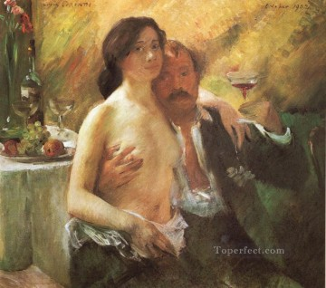 glass Painting - Self portrait with his Wife and a Glass of Champagne Lovis Corinth