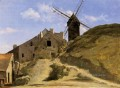 A Windmill in Montmartre plein air Romanticism Jean Baptiste Camille Corot