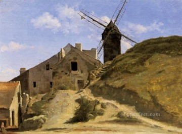 A Windmill in Montmartre plein air Romanticism Jean Baptiste Camille Corot Oil Paintings