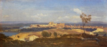 Avignon Seen from Villenueve les Avignon plein air Romanticism Jean Baptiste Camille Corot Oil Paintings