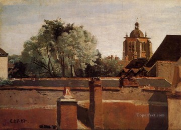 romantic romantism Painting - Bell Tower of the Church of Saint Paterne at Orleans plein air Romanticism Jean Baptiste Camille Corot