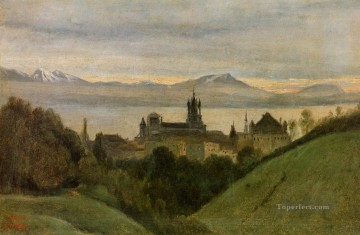 romantic romantism Painting - Between Lake Geneva and the Alps plein air Romanticism Jean Baptiste Camille Corot