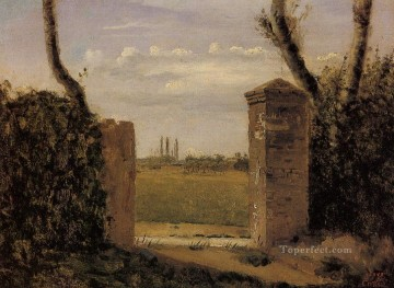 Boid Guillaumi near Rouen A Gate Flanked by Two Posts plein air Romanticism Jean Baptiste Camille Corot Oil Paintings