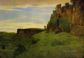 romantic romantism Painting - Civita Castelland Buildings High in the Rocks aka La Porta San Salvatore plein air Romanticism Jean Baptiste Camille Corot