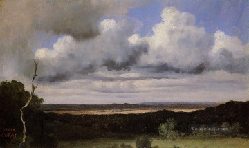 plain Art - Fontainebleau Storm over the Plains plein air Romanticism Jean Baptiste Camille Corot