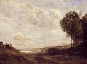 Landscape by the Lake plein air Romanticism Jean Baptiste Camille Corot Oil Paintings