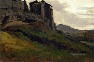Marino Large Buildings on the Rocks plein air Romanticism Jean Baptiste Camille Corot Oil Paintings