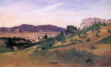 romantic romanticism Painting - Olevano the Town and the Rocks plein air Romanticism Jean Baptiste Camille Corot