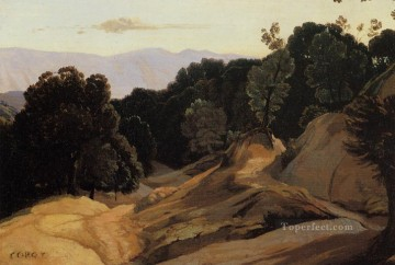 romantic romanticism Painting - Road through Wooded Mountains plein air Romanticism Jean Baptiste Camille Corot