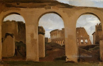 Constant Canvas - Rome The Coliseum Seen through Arches of the Basilica of Constantine plein air Romanticism Jean Baptiste Camille Corot